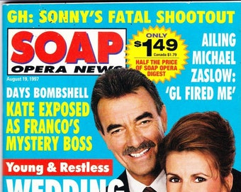 Soap Opera Digest Magazine, August 19, 1997, Michael Dietz, Lauren Martin-Harkins, Jerry ver Dorn, Peter Barton, SOD, Movie Stars
