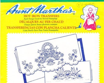 Aunt Martha's Hot Iron Transfers, Pillow Slips For Decorative Linens # 3436 Embroidery