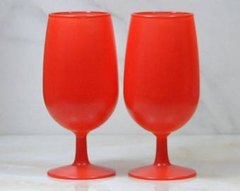 Vintage Orange Glass Stemmed Goblets Rainbow Glass Co, 1960's, Footed Goblets, Retro Drinkware, Metro Drinkware, Barware, Blendo Style