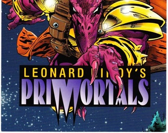 Vintage Leonard Nimoy's, Primortals, Promo Card, Tekno Comix, Limited Edition, 1995, 5x7, Primaster, Zeerus, SETI Project, Isaac Asimov