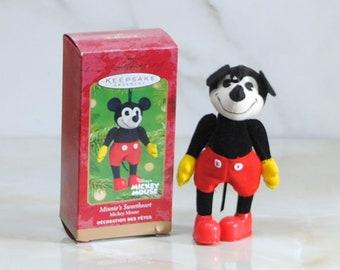Vintage Ornament, Hallmark Mickey Mouse, Minnie's Sweetheart, 2001, Disneys Mickey, Steamboat Willie, Christmas Ornament, Tree Ornament
