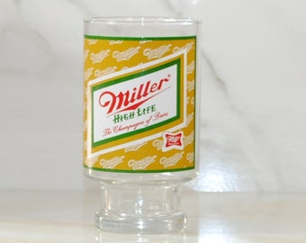 Vintage Miller High Life Oversized Beer Glass, The Champagne of Beers, Miller Beer, Large Beer Cup, Barware, Large Beer Glass, Large Glass
