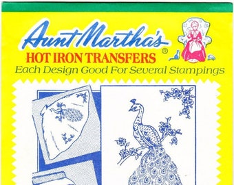 Aunt Martha's Hot Iron Transfers Beautiful Peacock 3297, Embroidery Pattern, Aunt Martha, Vintage Transfer,