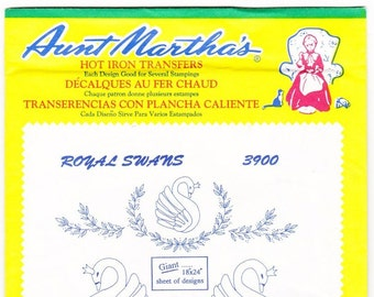 Vintage Aunt Martha's Hot Iron Transfers 3900, Royal Swans, RETIRED