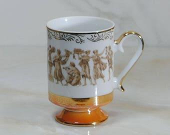 Vintage Greek Classic Teacup, Orange and Gold Gilt ARNART ROYAL CROWN