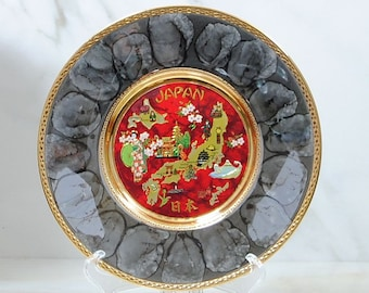 Vintage Japanese Art of Chokin Plate, 24K gold, Island of Japan in Gold Gilt, Red and Grey, Collector's Plate, Souvenir Plate, 8 inch Plate