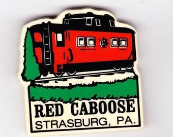 Vintage Magnet, Red Caboose, Strasberg, Pennsylvania, Refrigerator Magnet, Railroad, Pennsylvania Railroad, Strasburg Rail Road, Trains