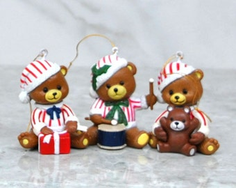 Vintage Teddy Bear Christmas Ornament, Teddy in Candy Cane Pajamas Playing w/ Christmas Toys, Set of Three,Teddy w/ Drum,Wrapping a Present