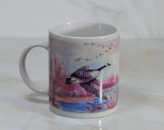 Vintage Coffee Mug of Canadian Geese in Flight