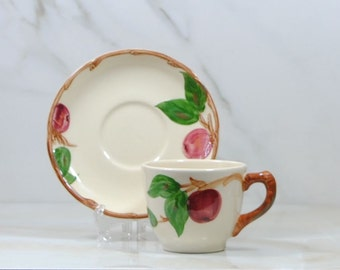 Vintage Franciscan Apple Tea Cup and Saucer by California Pottery