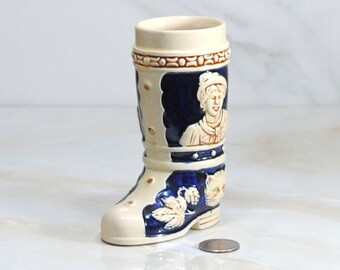 Vintage Eckhardt & Engler 1960s Boot Shape Hand Painted Beer Stein Made in Western Germany