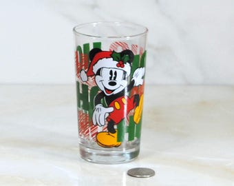 Disney Mickey Mouse Christmas Juice Glasse - Ho Ho Ho! This is a great Walt Disney Christmas Collectible!!