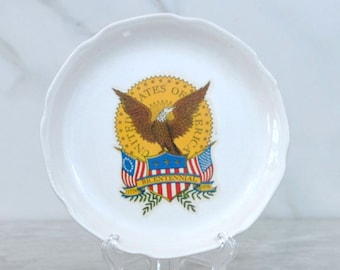 Vintage United States Of America Bicentennial 1776-1976 Porcelain Plate, Bald Eagle on Both Flags, Laurel Leaves,Laurel Vines, USA, America