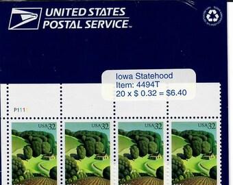 Vintage Postage Stamps Iowa Statehood Stamp Sheet 20 32 cent stamps, Scott 3089