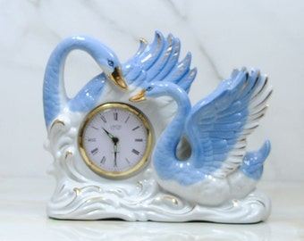 Vintage Blue And White Swans Clock, 1950's