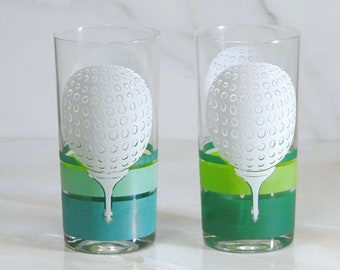 Vintage Golf Glasses, Tumbler, 12 oz,  Golf Ball and Tee, Golfing, Glass Tumbler, Tea Glass, Tea Tumbler, Sports, Golfer, Golf Course