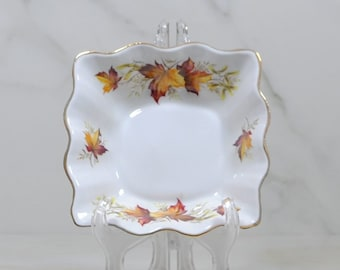 Vintage Rosina Queens China MAPLE LEAF Square Biscuit Plate