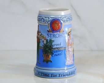 Vintage Beer Stein, Strohs Brewing Company, 1995, A Time For Friendship, Collector's Limited Edition