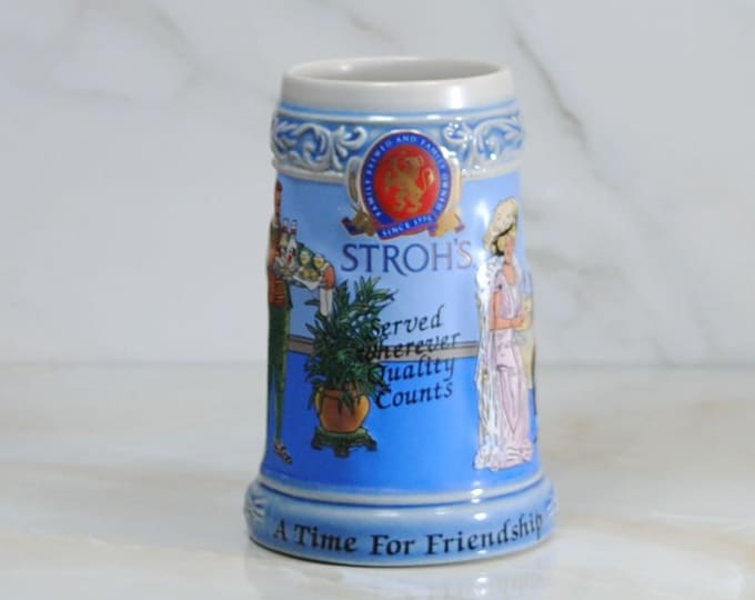 Featured listing image: Vintage Beer Stein, Strohs Brewing Company, 1995, A Time For Friendship, Collector's Limited Edition