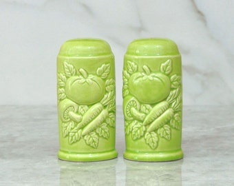 Vintage Green Vegetable Salt and Pepper Shakers, 1970's