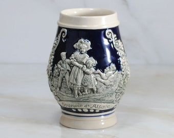 Vintage German Beer Stein Made in Germany by Gerz, 1960s, Souvenir d Alsace