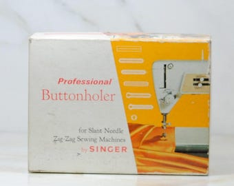 Vintage Singer Professional, Buttonholer, Singer Sewing, Slant Needle, Zig-Zag, Sewing Machines, 24 Piece, Part No, 102577, Button Holes