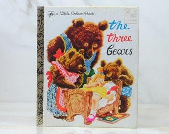 Vintage Three Little Bears, 1981, Little Golden Book, Goldilocks, Bedtime Story, Porrige, Bears Breakfast, Papa Bear, Mama Bear, Baby Bear