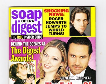 Soap Opera Digest Magazine, April 29 2003, with Shocking News Roger Howarth Jumps To World Turns, Behind the scenes at The Digest Awards