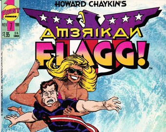 Howard Chaykins American Flagg Comic Book Number 7 November 1988, First Comics