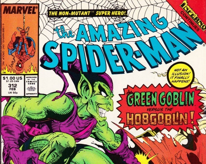 Vintage Comic Book The Amazing Spider-Man Number 312 February 1989, Green Goblin, Hobgoblin, Todd McFarlane, Inferno, Dr Curt Connors,