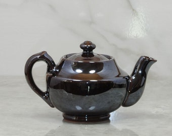 Vintage Small Dark Brown Lusterware Teapot with Lid, Made in Occupied Japan