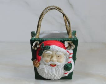 Vintage Ceramic Christmas Basket, Hand Painted Santa and Paper Twist Basket, Christmas Gift Basket, Circa 1990's, Christmas Planter, Basket