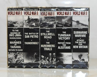 Vintage The Great War World War II Collection, VHS Tapes, 1994, San Pietro, Tunisian Victory, Iwo Jima, Submarine Warfare, Stillwell Road