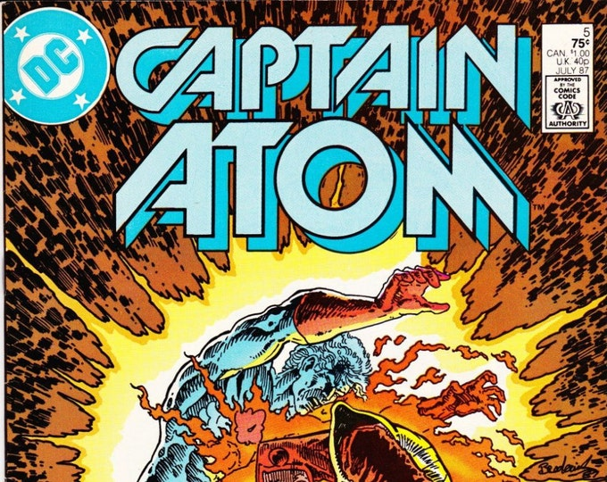 Vintage Comic Book Captain Atom Number 5 July 1987 DC Comics, Firestorm, Major Force, Slow Burn, Nathaniel Adam, Plastique, Dr Spectro