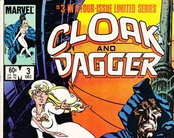 Vintage Comic Book, Cloak And Dagger, Number 3, December 1983, Marvel Comics