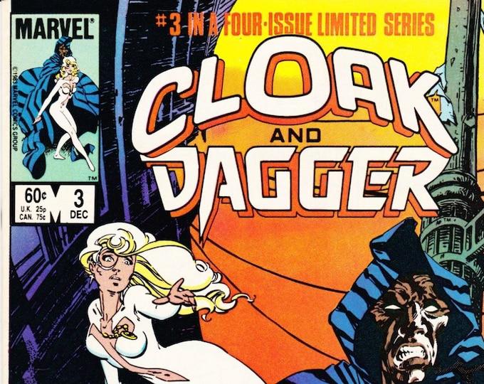 Vintage Comic Book Cloak And Dagger Number 3 December 1983 Marvel Comics, Tyrone Johnson, Tandy Bowen, New York City, Boston, Drugs, Crime