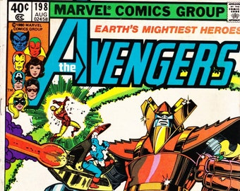 Vintage Comic Book, The Avengers, Number 198, August 1980, Marvel Comics