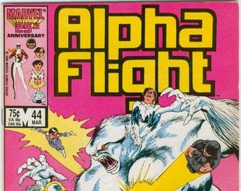 Alpha Flight Comic Book Number 44 March 1987 Marvel Comics