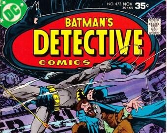 Vintage Comic Book, Batman's Detective Comics, Number 473, November 1977, DC Comics