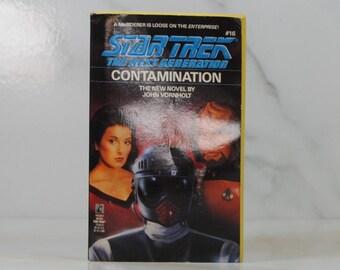 Vintage Paperback Book Star Trek The Next Generation, Contamination, 1991, Pocket Books, John Vornholt, USS Enterprise, Lynn Costa, Emil
