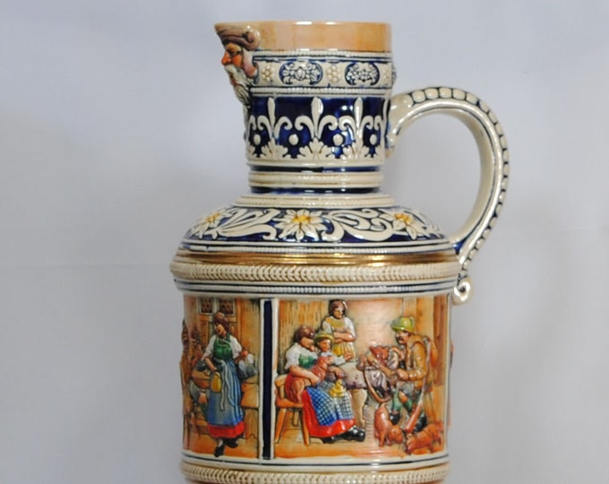 Featured listing image: Vintage German Beer Stein 3.5L, mold #283, by Marzi & Remy depicting Tyrolean Social Scenes, 1960s