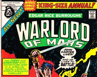 Vintage Comic Book, Warlord Of Mars, King Size Annual, 1977, Marvel Comic Group