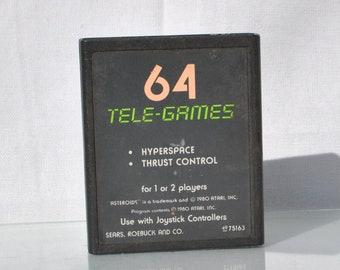 Vintage Atari 2600 Game, Asteroids, Sears Tele-Games, 1981