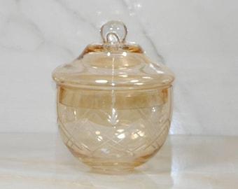 Vintage Iridescent Rounded Marigold Glass Lidded Bowl