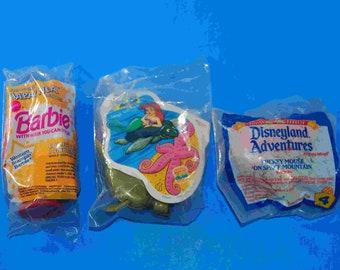 Vintage Happy Meal Toys Set of 3, McDonalds Barbie, Burger King Little Mermaid, McDonalds Disneyland Adventures