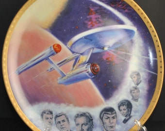 Vintage Star Trek USS Enterprise Commemorative Collectors Plate, Hamilton Collection, Star Trek The Original Series