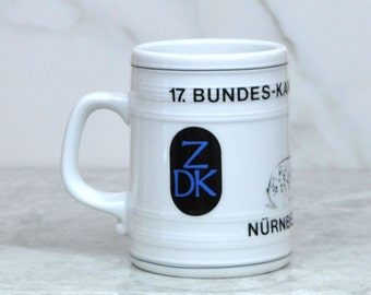 Vintage German White Beer Stein Bundes Kaninchenschau Nurnberg 1985