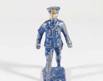 Vintage Lincoln Logs Lead Figure, Policeman, Made in the USA 1940s