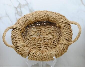 Vintage Sisal Rope Basket With Rattan Handles