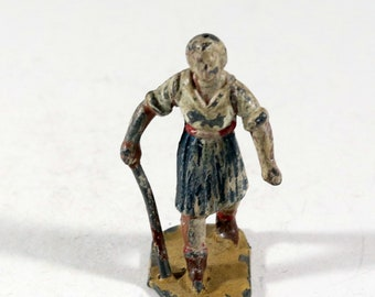 Vintage Barclay Manoil Lead Figure, Woman Hiking Through Woods, 1950s